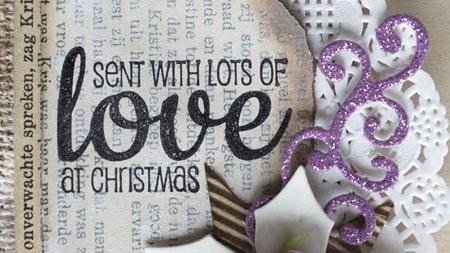 Send with lots of love tag DT Vilda Stamps detail