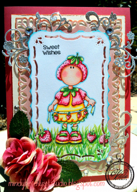 Vilda Stamps strawberry girl card